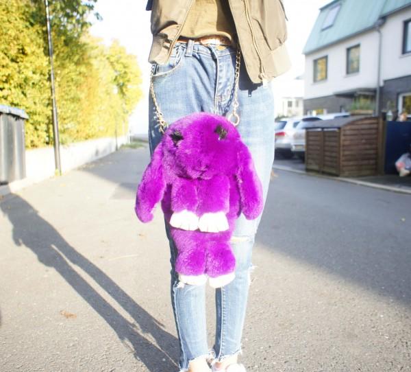Felltasche Hase dunkelviolett