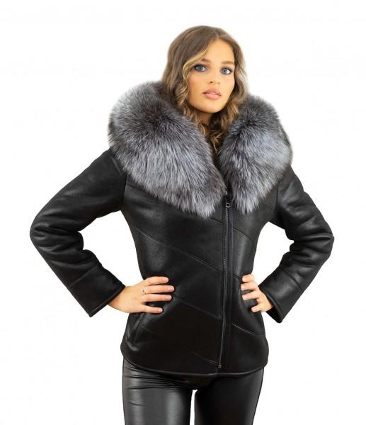 Winterjacke mit abnehmbaren XXL Silberfuchs Pelzkragen