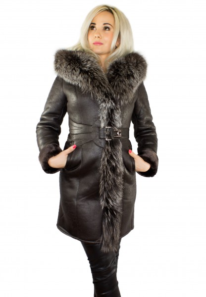 Wintermantel braun mit Echtfell Pelzkragen Silberfuchs Echtpelz