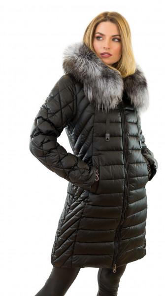 Winterjacke mit Echtfell Jacke mit Echtpelz Mantel mit Fellkapuze
