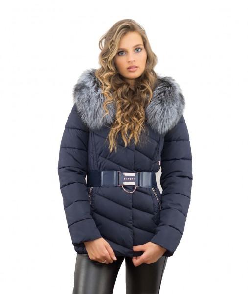 Jacke Farbe blau  mit Echtpelz Silberfuchs