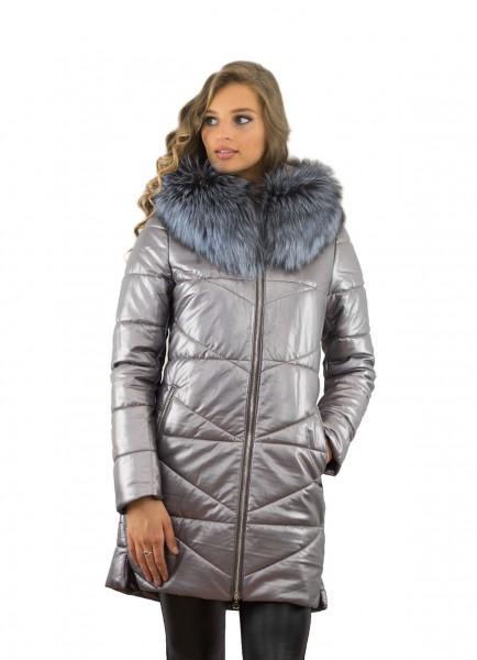Wintermantel  aus Eco Leder schwarz mit Kamelhaarfüllung Echtesfell Silberfuchs abnehmbar abknöpfbar Pelzbesatz