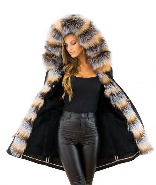 Damenparka schwarz mit Pelzkapuze Silberfuchs Echtpelz Kaninfell Innenfell