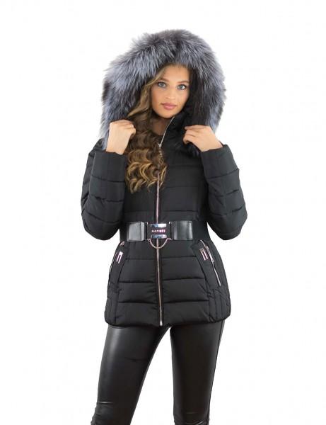 Damenjacke mit Fellkapuze Silberfuchs Farbe schwarz Echtfell Pelzkragenen