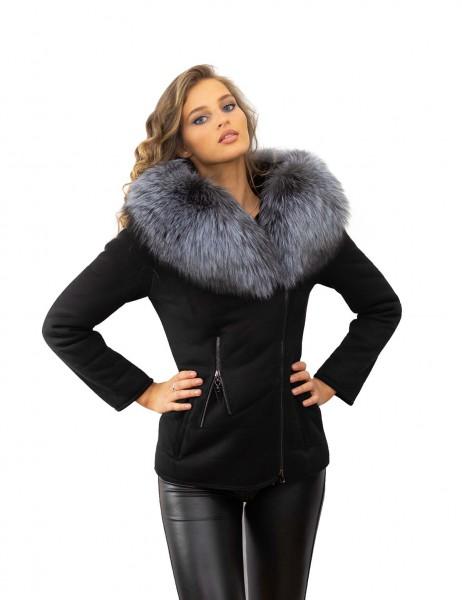 Winterjacke schwarz mit Echtfell Pelzkragen Silberfuchs Echtpelz