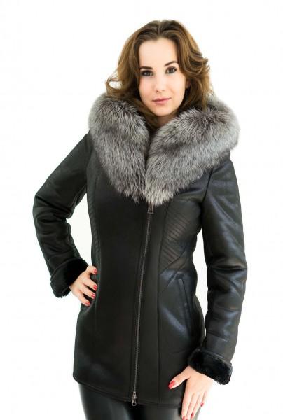 Winterjacke mit Silberfuchs Pelzkragen echtes Fell Farbe Schwarz