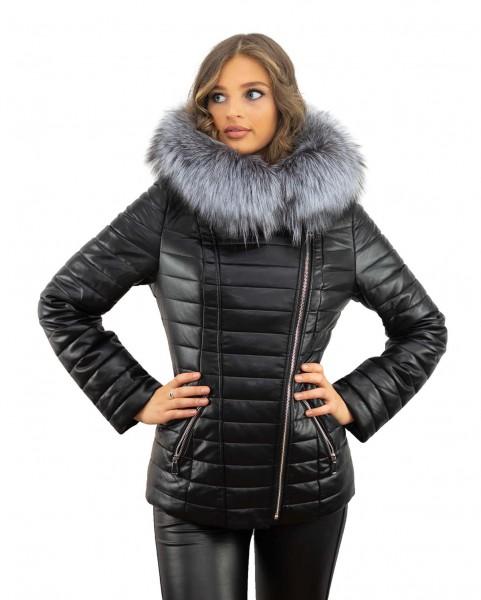 Winterjacke schwarz mit Kamelhaarfüllung Echtesfell Silberfuchs abnehmbar abknöpfbar Pelzbesatz