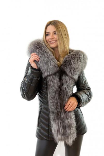 Eco Lederjacke mit xxl Pelzkragen Silberfuchs Jacke mit Pelz