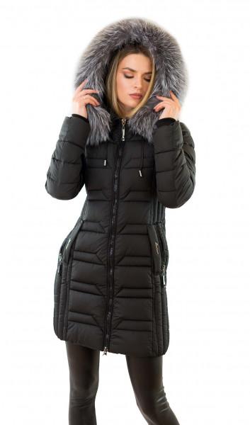 Winterjacke schwarz mit Fell Parka Jacke mit Echtpelz