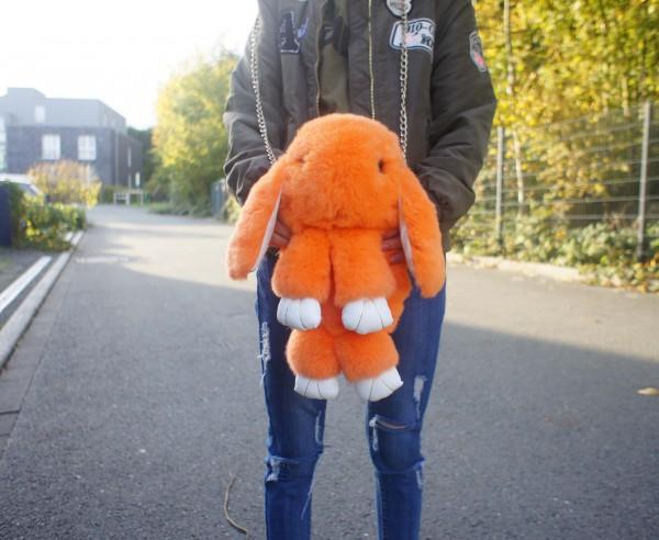 Felltasche Hase orange