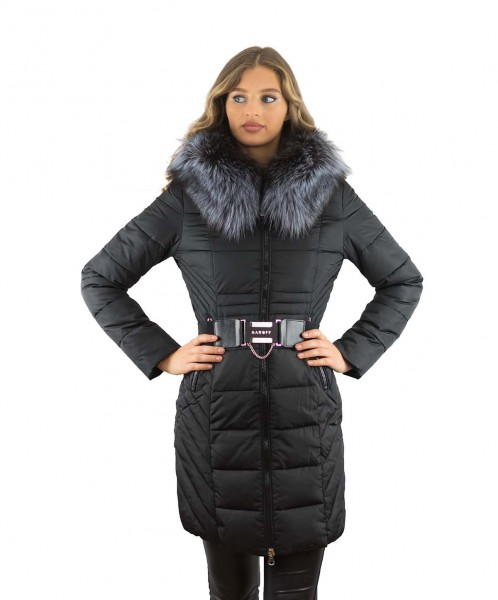 Winterparka Farbe schwarz mit Echtfell Pelzkragen Silberfuchs