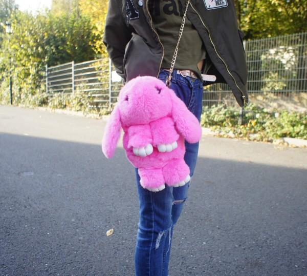 Felltasche Hase rosa