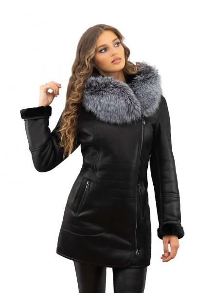 Winterjacke schwarz Echtesfell Silberfuchs abnehmbar Pelzbesatz
