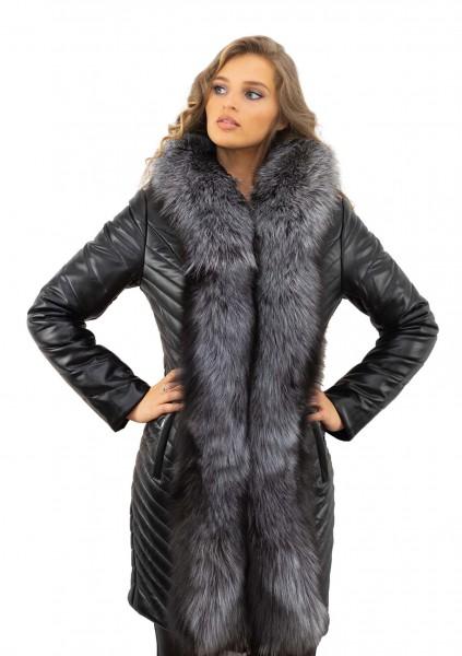 Wintermantel schwarz mit Echtfell Pelzkragen Silberfuchs Eco Leder Kamelhaarfüllung